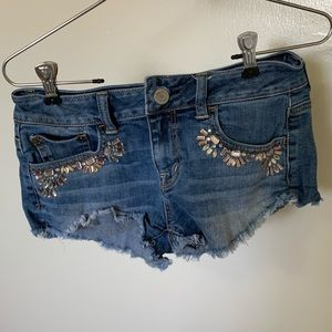 Jean shorts with jewels, AEO